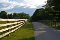 well paved road in between 2 large pastures-small